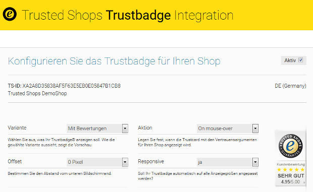 SEOshop Trustbadge Code Integration